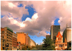 Copley Sky (brooksbos) Tags: city pink blue sky urban color boston architecture geotagged ma photography photo day cloudy sony newengland cybershot bostonma copley sonycybershot bostonist bay masschusetts lurvely square back 02116 thatsboston copley dschx5v hx5v brooksbos