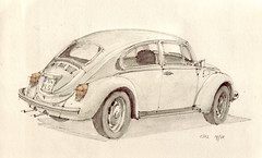 1302 (Flaf) Tags: colour water vw pencil volkswagen drawing beetle florian cottbus kfer afflerbach elefantenfse