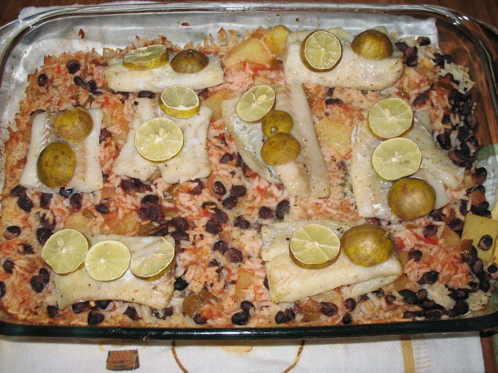 Baked Costa Rican-Style Fish with Pineapple, Black Beans & Rice