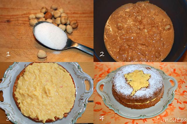 Torta soffice di nocciole alla crema pasticcera