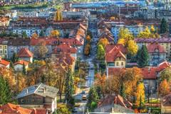 Maribor (Sareni) Tags: road street autumn trees houses light house streets tree fall cars colors buildings nikon october shadows si roofs slovenia processing slovenija mb maribor 2010 twop jesen hdrhighdynamicrange sareni