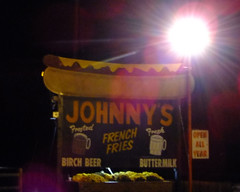 Hot Dog Johnny's (wxkeith) Tags: sign restaurant newjersey open hotdogs roadfood buttzville hotdogjohnny