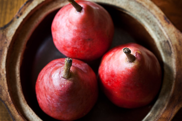 Three red pears in a dish