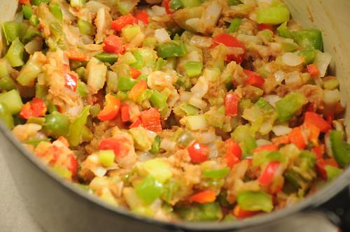 Make-Ahead Cajun Chicken and Mushrooms - soften veggies