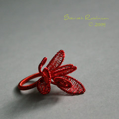 Rojo (SarahRobinL) Tags: red plants hoja leaf wire rojo ring cooper cobre vegetal anillo bague alambre