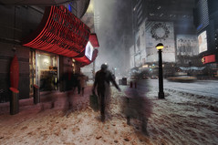 riders on the storm (mudpig) Tags: city nyc newyorkcity longexposure winter snow newyork storm night advertising square geotagged time billboard timessquare times blizzard hdr mudpig stevekelley snowpocalyse