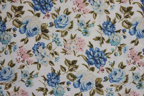 Vintage Full Flat Sheet with Blue & Pink Roses