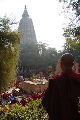Mahabodhi Temple - Bodh Gaya, India (J Eberl) Tags: red india yellow temple meditate nirvana robe buddha buddhist watch pray bald monk buddhism bodh gaya lama enlightenment saffron bihar enlighten bodhgaya mahabodhi guatama