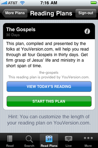 Daily Reading Plans with the free YouVersion iPhone Bible