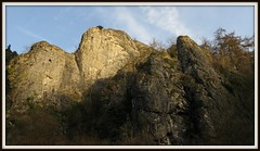 Limestone Crags bathed in light (Dazzygidds) Tags: beautiful nt derbyshire peakdistrict rocky beautifullight bluesky limestone nationaltrust crags peakdistrictnationalpark dovedale jutting limestonecliffs sssi riverdove derbyshiredale famoussteppingstones