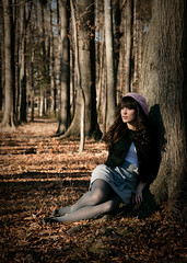 Back to the Days of innoncence (Brandon Christopher Warren) Tags: park trees brown white black beautiful hat leaves forest woods leah gray tights jacket heels hosiery cape englewood xxi artisticface eos5dmarkii leahheidelmeier heidelmeier