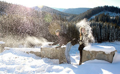 Snow Fight (Lucian Simionesei) Tags: winter people white snow mountains cold december 2009 munti lucian oana vidra iarna zapada