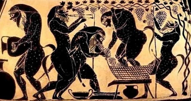 Silenos haciendo vino