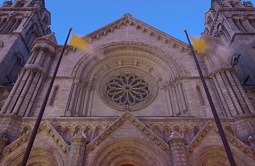 Cathedral Basilica of Saint Louis, in Saint Louis, Missouri, USA - view of exterior facade with flagpoles