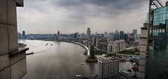 Stormy Bund (IceNineJon) Tags: china road street city travel windows sky panorama building window water skyscraper river photography hotel boat asia shanghai chinese panoramic highrise hyatt prc    bund thebund huangpu peoplesrepublicofchina puxi hongkou huangpuriver    perfectpanoramas explored   canon40d hyattonthebund