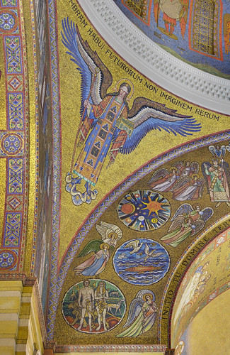Cathedral Basilica of Saint Louis, in Saint Louis, Missouri, USA - mosaic of angel under dome 3