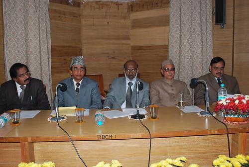 Felicitation of Prof. Abul Kalam Qasmi. L to R - Pof. VK Abdul Jaleel, AMU Registrar, Prof. Abul kalam Qasmi, AMU VC, Prof. Masoodul Hasan, Prof. Parvaiz Mustajab, Controller Exams