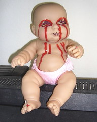 Evil Baby of DOOOOM!! (SammyBlot) Tags: baby up monster rose mouth toy petals blood eyes doll pin evil smell sewn eyeless scented acomedyofhorrors eviltoys monstertoys azangelszombies sammyblot darkdeathhorror