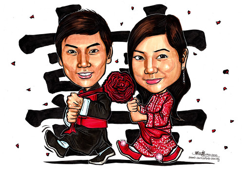 Traditional Chinese wedding caricatures A4