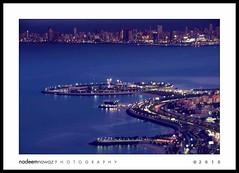 Green Island from Al-Hamra Tower, Arabian Gulf Road Kuwait (nadPRINCE <Nadeem Nawaz>) Tags: blue sunset water skyline lights evening muslim arab bluehour kuwait greenisland persiangulf arabworld arabiangulfroad