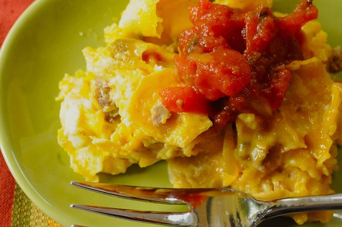 migas with cheese sauce