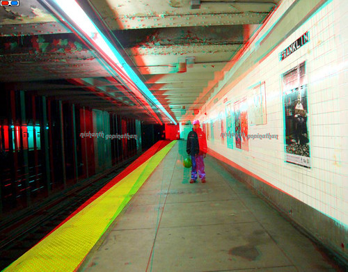 3D Anaglyph (Red-Cyan glasses) Subway Station