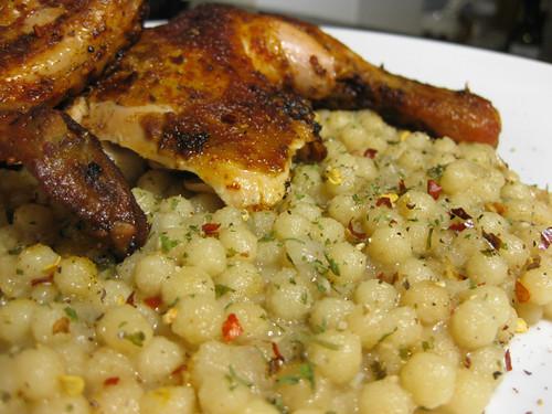 Chicken paprikash and moghrabieh