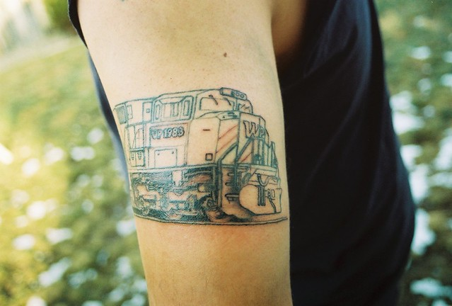 train engine tattoo. western pacific engine