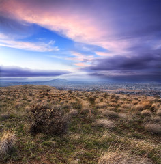 If you were driving a boat and all the wheels fell off, how many pancakes would it take to build a doghouse? (Philerooski) Tags: city winter sunset sky plants mountain cold clouds composition town washington amazing weeds colorful view desert phil dusk top hill january ground lookout brush dirt wa dreamy february overlooking viewpoint stitched hdr highdynamicrange tumbleweeds kennewick tricities 3xp photomatix vertorama kennewickphotographer