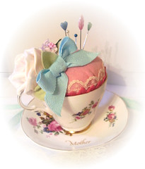 ROSIE TEA CUP PINCUSHION (Fabric Fancies) Tags: cake easter day sewing decoration felt pins mothers ornament gift quilting pincushion embriodery needles teacup