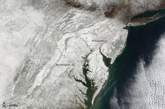Thumb Snowpocalypse's Satellite Photo of Washington D.C. and Philadelphia
