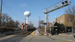 Southbound Metra local apprachong the Northbrook station. Northbrook Illinois. Febuary 2010.