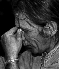 Thinking (Bob R.L. Evans) Tags: thought lonely hands blackandwhite age confusion worker portrait emotion face contemplation wrinklesface frustrated tired weary upset roughlooking tmax