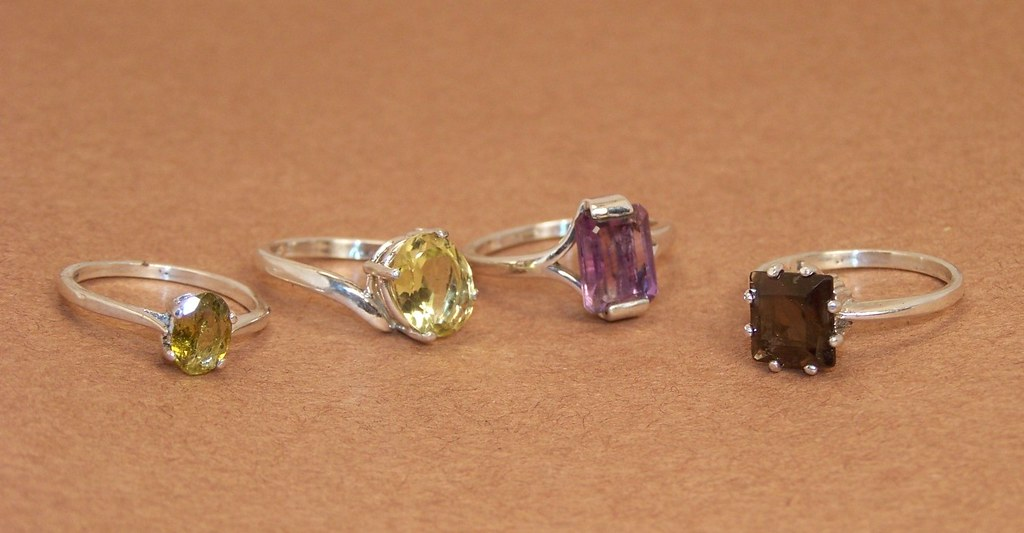 gem stone silver rings set of 4 various prong settings