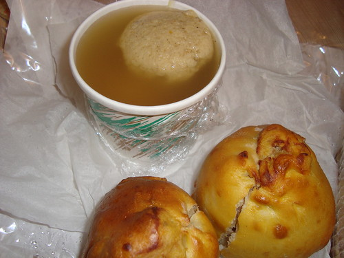 Matzoh Ball Soup & Potato Knishes @ Langer's