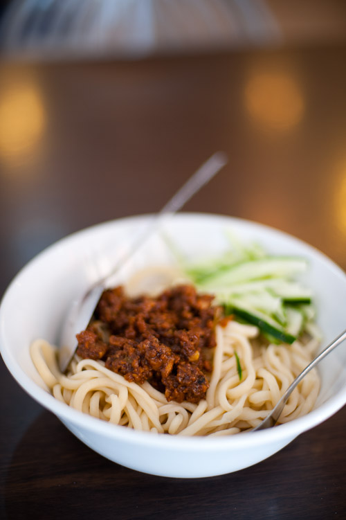 Wheat noodles with a ground pork topping at Khrua Paking, a Chinese restaurant in Bangkok
