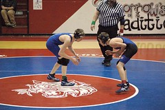 Crane�s Wyatt Clark (left) and Thomas O�Toole squared off for the 103 pound championship. (Photo by DEBBIE TITUS)