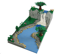 Landscape (Chas Irish) Tags: trees tree green water river landscape waterfall lego shore moc athalon