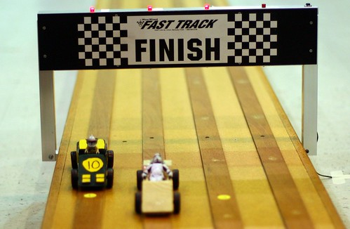 Pinewood Derby finish