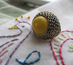 Vintage deco cocktail ring with yellow beaded center (MySoCalledVintage) Tags: fashion yellow metal vintage gold costume mod peacock jewelry retro ring chain cocktail faux accessories etsy midcentury costumejewelry madmen mysocalledvintage