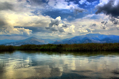 Prespes (Theophilos) Tags: sky lake mountains reflection clouds landscape greece cloudysky       mikriprespa