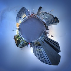 little planet:  beijing olympic green at dusk (helen sotiriadis) Tags: china blue light architecture twilight dusk beijing olympics hdr birdsnest nationalstadium photomatix watercube polarpanorama littleplanets nationalaquaticscenter nationalindoorstadium digitalbuilding toomanytribbles updatecollection