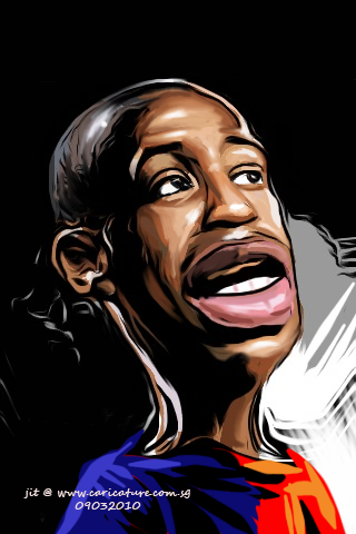 Caricature of Thierry Henry drawn with iPhone