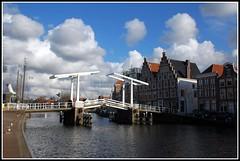 het Spaarne (lenievm) Tags: old bridge spaarne clouds blauw wolken brug haarlemwater historyhaarlemkerkchurchstbavotorentower