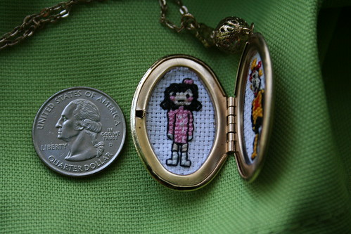 Dr. Girlfriend & The Monarch cross stitch locket