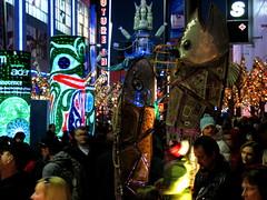 IMG_3685 Granville Olympic Lanturns (banana razor) Tags: city light people sculpture fish art night lowlight crowd nightlife olympics vancouver2010 vancouverolympics 1stnationsart