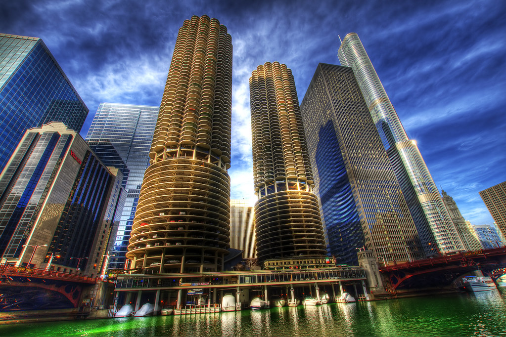 Marina Towers shortly after the Chicago River was Dyed.