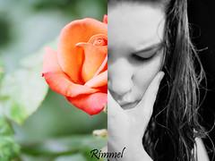 E mordendomi le labbra.Fino a farmi male. ([  ] R di Rimmel) Tags: two portrait bw white black flower colour face rose canon 50mm photo colore rosa bn bianco ritratto nero due viso eleonora eos350 rimmel dittico