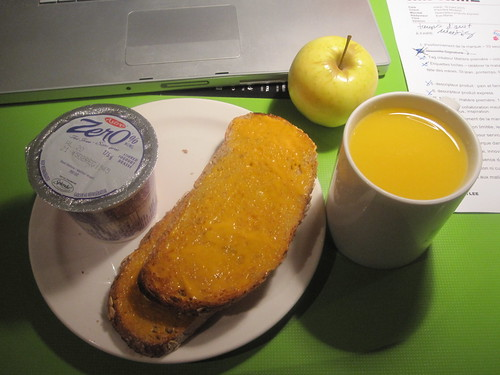 Toast, yogurt, apple, oj from the breakfsat bar at work