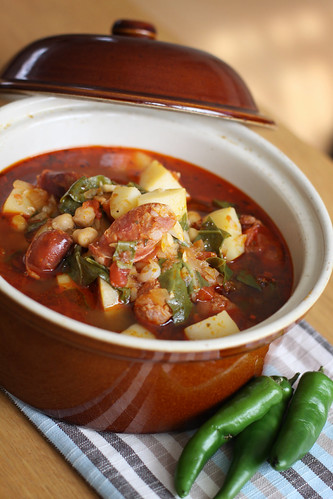 Chorizo, chickpeas and Swiss chard soup